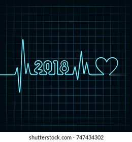 Illustration of 2018 greeting for new year celebration with heartbeat design