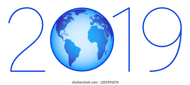 Illustration of the 2019 blue globe lettering. Elements of this image furnished by NASA