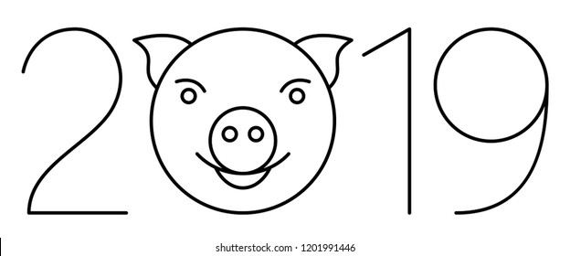 Illustration of the 2019 number and pig symbol