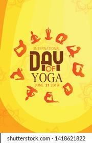 illustration of 21 june international yoga day woman doing asana for Yoga