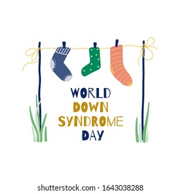 Illustration Of 21 March World Down Syndrome Day. Symbol different socks.