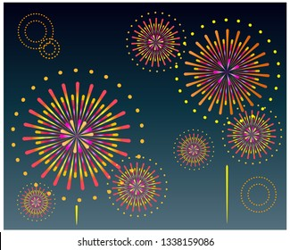 Fireworks vector illustration.