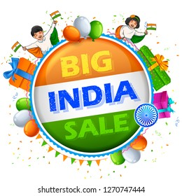 illustration for 26th January Happy Republic Day of India sale banner with Indian flag tricolor