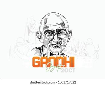 illustration 2nd October mahatma Gandhi jayanti indian freedom fighter design - Shutterstock ID 1801717822