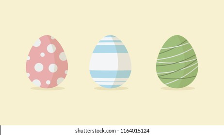 Illustration of 3 Easter eggs with poke dots and stripes with shadow at bottom