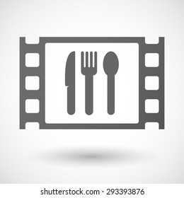 Illustration of a 35mm film frame with cutlery