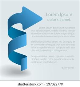 Illustration of 3d blue arrow, for logo design and presentation