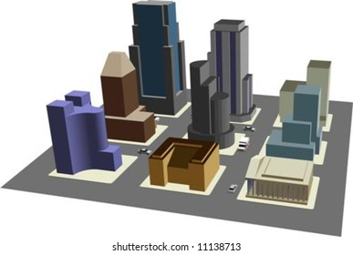 Illustration of 3D view of 9 blocks of a model city, with clipping path