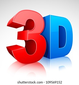 illustration of 3D word written in red and blue color