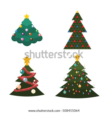 illustration of 4 different kind of christmas trees - Different Kinds Of Christmas Trees