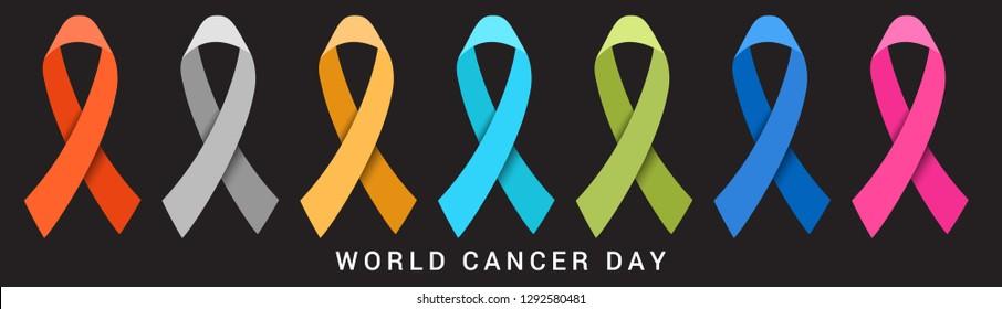 Illustration Of 4 February World Cancer Day Poster Or Banner Background.