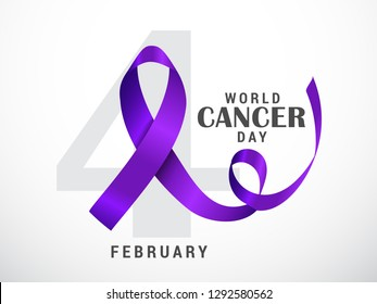 Illustration Of 4 February World Cancer Day Poster Or Banner Background.
