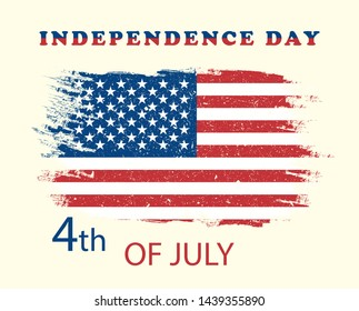 Illustration 4 July independence day USA . American grunge flag. Vector poster, banner, holiday card, yellow background.