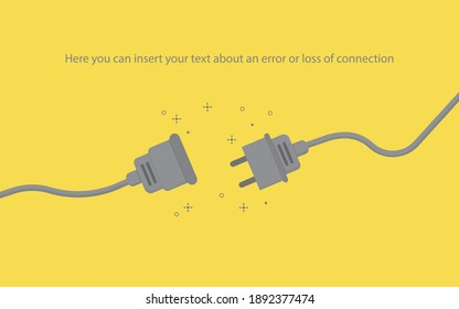Illustration of a 404 error page or connection loss. The connection is broken. Flat vector wires, made in yellow and gray. Trend colors of 2021.
