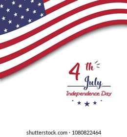 Illustration of 4th july background with american flag design.