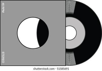 Illustration of a 7-inch/45 rpm vinyl record.