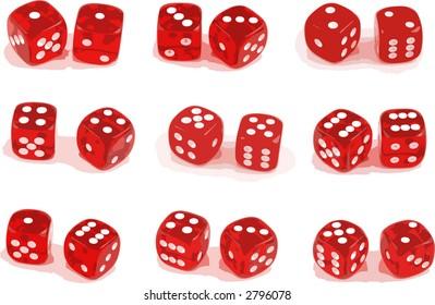 Illustration of 9 sets of dice