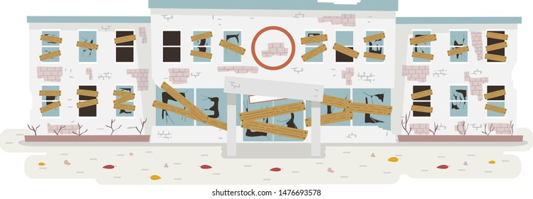 Illustration of an Abandoned Hospital with Broken Windows and Hammered Wooden Planks