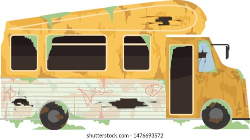 Illustration of an Abandoned Trailer Van or Truck with Broken Glasses and Rust