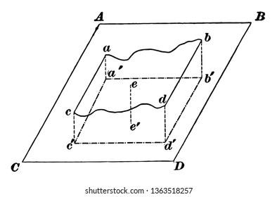 Illustration of an abnormal ABDC surface projected onto the flat ABCD floor, vintage line drawing or engraving illustration.