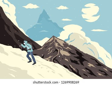 illustration about an alpinist climber that you can use in your project