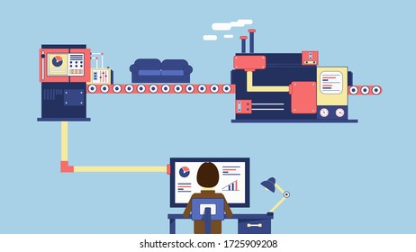 Illustration about automation of furniture production. Man runs a business using computer