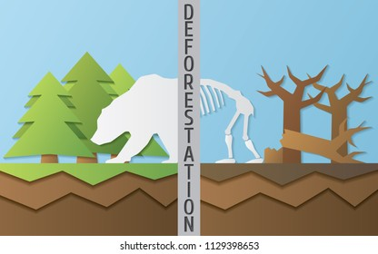 Illustration about danger of deforestation to animals