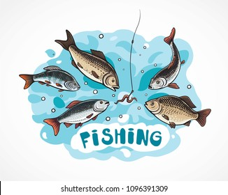 Illustration about fishing in cartoon style, flock hungry fish attack to the a hook (bait).