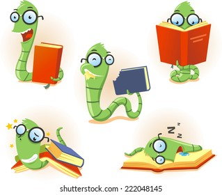 Illustration about a funny bookworm set, with Bookworm Worm book Story telling Studying Eating Reading set vector illustration.