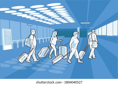 Illustration about people at an airport laden with suitcases returning from vacation