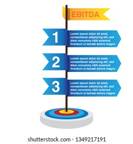 illustration about results, ebitda and target, goals and objectives.