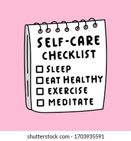 Illustration about self-care. Hand drawn checklist on pink background.