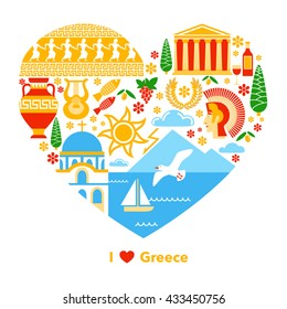 illustration about symbol Greek in flat style. Use so poster or print on T-shirt for tourism.