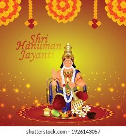 Illustration of abstract background for Hanuman Jayanti festival