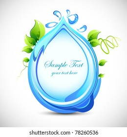illustration of abstract background with water and leaf theme