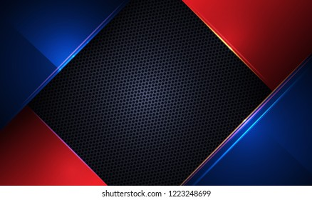 Illustration of abstract blue, red and black metallic with light ray and glossy line. Metal frame design for background. Vector design modern digital technology concept for wallpaper, banner template