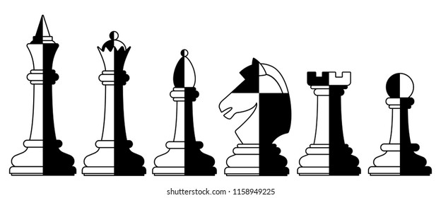 Illustration of the abstract chess pieces set