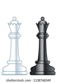 Illustration of the abstract chess queen pieces