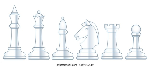 Illustration of the abstract chess white pieces set