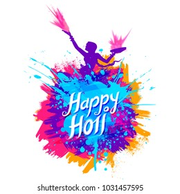 illustration of abstract colorful Happy Holi background for color festival of India celebration greetings