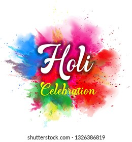 illustration of abstract colorful Happy Holi background - Vector