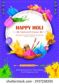 Illustration abstrakter bunter Happy Holi Hintergrund-Kartendesign für Farbfestival von Indien Feierlichkeiten Grüße