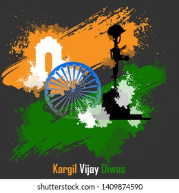 illustration of abstract concept for Kargil Vijay Diwas with colours, banner or poster.Vector illustration-vector