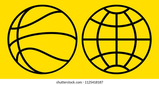Illustration of the abstract contour basketball ball and globe