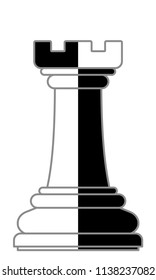 Illustration of the abstract contour chess rook piece