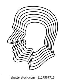 Illustration of the abstract contour layer human profile head