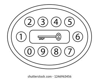 Illustration of the abstract digital key lock