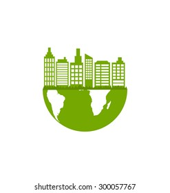 Illustration Abstract Ecology Green Town, Eco Friendly Concept - Vector