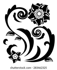 Illustration of the abstract fantasy flowers black silhouette on white background