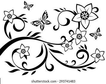 Illustration of the abstract flowers black silhouette on white background